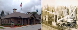 The property next to the railroad tracks in Kingsley, in 1910 and 2014.