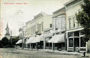 The First State Bank of Kingsley, the short building in the middle of the block of downtown pictured here, became the Kingsley Library in 1939.