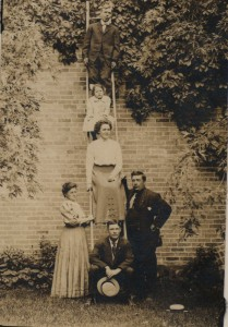 Eunice Stinson (standing left) acted as the Kingsley Librarian from 1914 to 1939. Pictured here with her husband, Postmaster Ambrose Burnside Stinson (standing right), children Harold, Rhea and Bernice Stinson, with friend Floyd McDonald on bottom.
