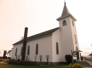 Exterior of St. Mary of Hannah in 2014, a Catholic church in Grand Traverse County, south of Chum's Corners and west of Kingsley on M1-13. Photo credit to GTJ editors.