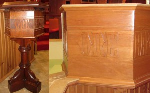 The original, much smaller baptismal font on the left; on the right is the new font, which is large enough to feed a walk-in pool.