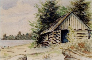 "The ""Old Fish Shanty"" on the shore of the Holdsworth property, Old Mission Peninsula; lithograph by William S. Holdsworth, undated."