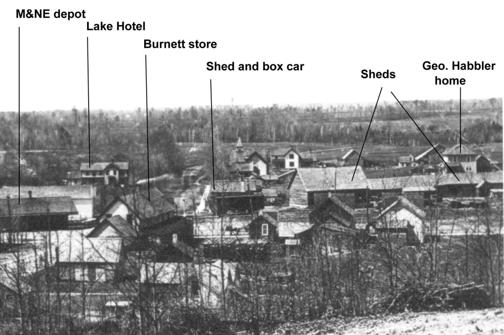 Lake Ann, ca. mid-1890s. Railroad operations depended on the close proximity of storage units for goods and equipment.