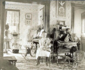 Pictured in the elegant farm home are siblings Claribel (the author) and her brother William Wilhelm.