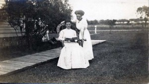 Rose (Zimmerman) Wilhelm and daughter Claribel at the family farm, ca. 1915.
