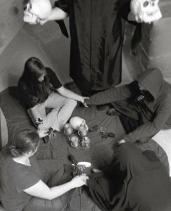 Copious amounts of thanks go to the Teen Sages of Traverse Area District Library, who reenact a seance to illustrate this article.