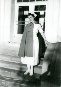 Frances, Standing at entry to Munson dorm (now a State office building).