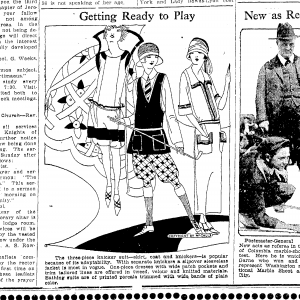 "The McCall's three-piece knickers suit for fashionable young women; This image appeared in the Traverse City  ""Record-Eagle"" on April 27, 1923."