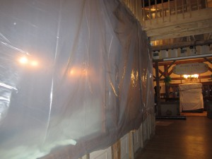 The General Store display is temporarily closed and under wraps for protection.