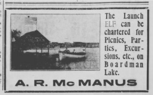 "Advertisement for McManus' ""Elf"", from the Traverse City ""Evening Record"", recorded by the author."