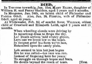 "Obituary of William Leith, from the ""Grand Traverse Herald,"" 1859."