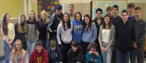 Dave and his model Ignatius, with students of Frankfort High School. Year-long preparation for the Catton awards can be exhausting, but Ignatius is always present to provide encouragement. Photograph courtesy of the author.