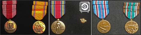 "My medals read left to right: EFFICIENCY, HONOR, FIDELITY; AMERICAN DEFENCE; WORLD WAR II, (silver upper right) designates driver/mechanics badge, (small pin button) discharge free ride for vets or commonly called ""RUPTURED DUCK MEDAL""; AMERICAN CAMPAIGN, and AMERICAN MIDDLE EASTERN CAMPAIGN."
