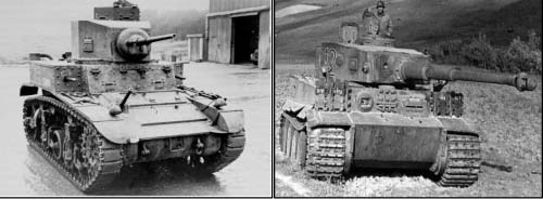 Compare the cannon bore of our Light M3 Tank on the left with the bore of the 75mm Tiger on the right.  Wider track and raised cleats gave the Tiger better traction.  The solid armor of the Tiger easily deflected our 37 mm cannon shot.  Superior speed was our best defense.