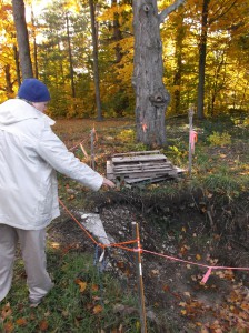 Warne, November 2014, describing the excavation of the privy site. Warne is also involved in the more recent excavation, in June 2015, undertaken by North Central Michigan College professor Kerri Finlayson and her students.