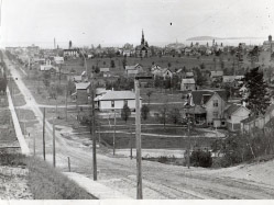 In April 2015, Dr. Elms' house was torn down. In this photograph,  ca. 1890s, the home is closest the the camera, set back from Union Street (far right).
