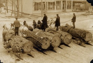 """Logs headed for Case & Croster Mill, Kingsley, 1908."" Image courtesy of Floyd Webster Historical Photograph Collection,  fw03003, Kingsley Branch Library."