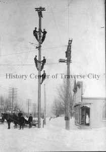 Men working on putting up the first telephone lines in the region, ca. 1898, the work of Citizens Telephone Co. Image courtesy of the History Center of Traverse City.