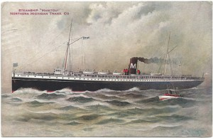 "Postcard image of Northern Michigan Transportation Company steamer ""Manitou,"" which ferried passengers from Chicago to Mackinac. Image courtesy of Don Harrison, https://flic.kr/p/anVGQv"