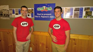 Jeff Pearson (right) with Jeff Yacks in front of A. Papano's Pizza of Kingsley history display. Image courtesy of Yacks.
