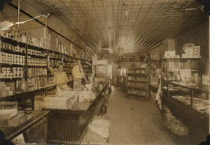 Interior of Tony Beyer's grocery, now A. Papano's Pizza, downtown Kingsley, 1924. Image courtesy of Kingsley Branch Library.