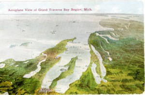 Aerial view of Grand Traverse Region, colored postcard, ca. 1910. Image courtesy of Traverse Area District Library local history collections, http://localhistory.tadl.org/items/show/2115.