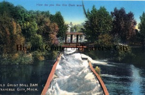 Old grist mill dam, looking east on Boardman River. Image courtesy of History Center of Traverse City.