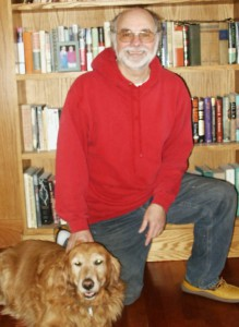 Stephen Lewis, novelist, with furry friend.