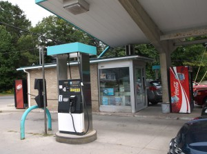 Toll booth style station, with canopy, East Front Street.