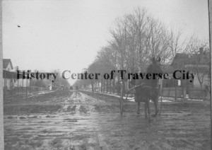 State Street, looking east. Which house was the pest house? Perhaps another research will solve that mystery! Image courtesy of the History Center of Traverse City.