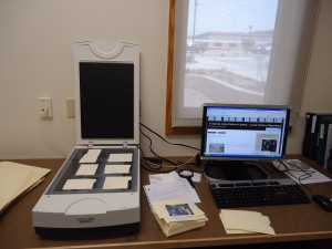 Scanning station at the Local History and Genealogy Room, Kingsley Branch Library. Photo courtesy of the author.