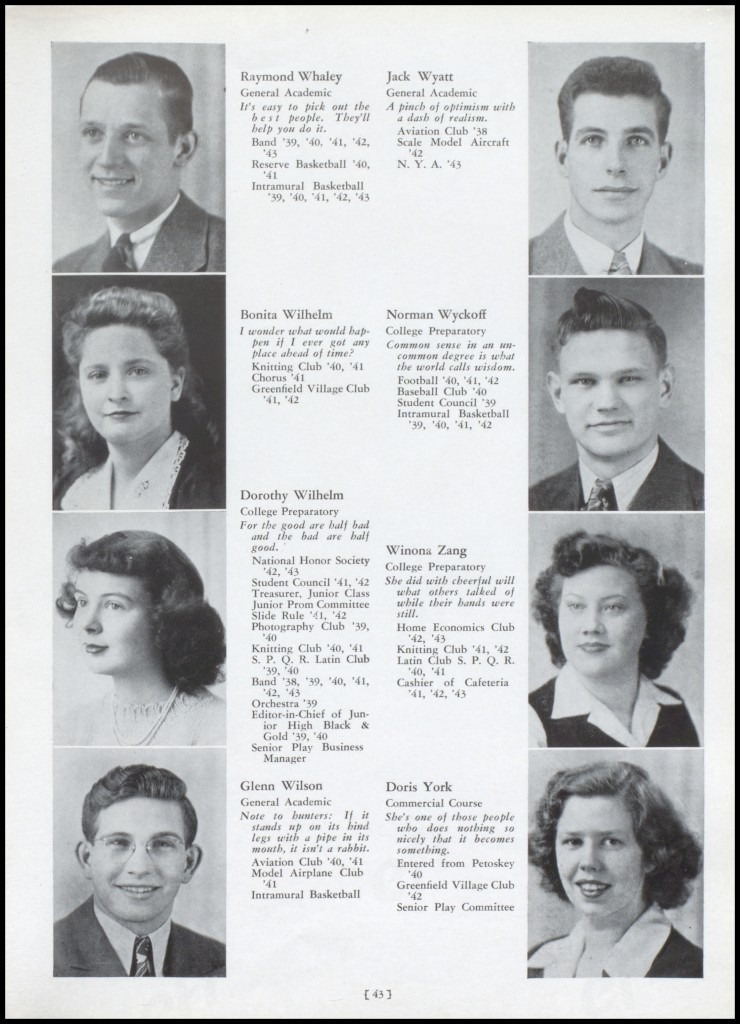 """The Pines,"" Traverse City High School yearbook, 1943. This yearbook and additional years are available at the Traverse Area District Library."