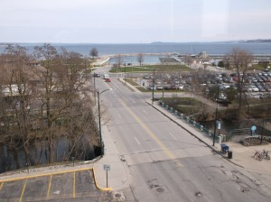 View from Fifth Third Bank at 102 W Front Street, looking north. Image courtesy of the author.