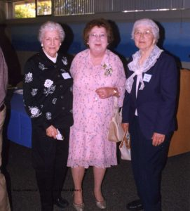 Grace Terry, Marge Kinery, Clara Moon, at an event in the Grand Traverse Heritage Center (322 Sixth Street, Traverse City), 2005. Image courtesy of the Traverse Area District Library Local History Collection.