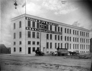 Straub Bros. & Amiotte building on West Front Street, home of the candy factory, ca. 1905. From the Grand Traverse Pioneer and Historical Society Collection, 3006.