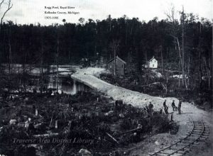 Postcard of Rugg Pond, Rapid River, 1905-1906. Image courtesy of Traverse Area District Library, 953.031910.13-2
