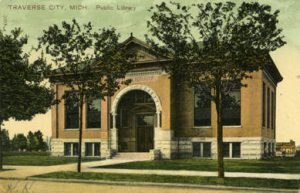 Orson W. Peck picture postcard of the new Carnegie Library, ca. 1905. Image courtesy of University of Illinois Urbana-Champaign, http://imagesearchnew.library.illinois.edu/cdm/singleitem/collection/koopman/id/575/rec/3