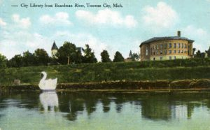 Traverse City Public LIbrary, photograph by A. Wildman, 1912. Image courtesy of University of Illinois Urbana-Champaign, http://imagesearchnew.library.illinois.edu/cdm/singleitem/collection/koopman/id/573/rec/1