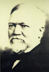 "Andrew Carnegie, Scottish-American industrialist and library lover. ""The man who acquires the ability to take full possession of his own mind may take possession of anything else to which he is justly entitled."" Image courtesy of Marie Kulibert, TADL librarian/historian."