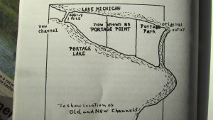 "Map from ""Story of Portage,"" showing the location of the old and new channels to Lake Michigan."