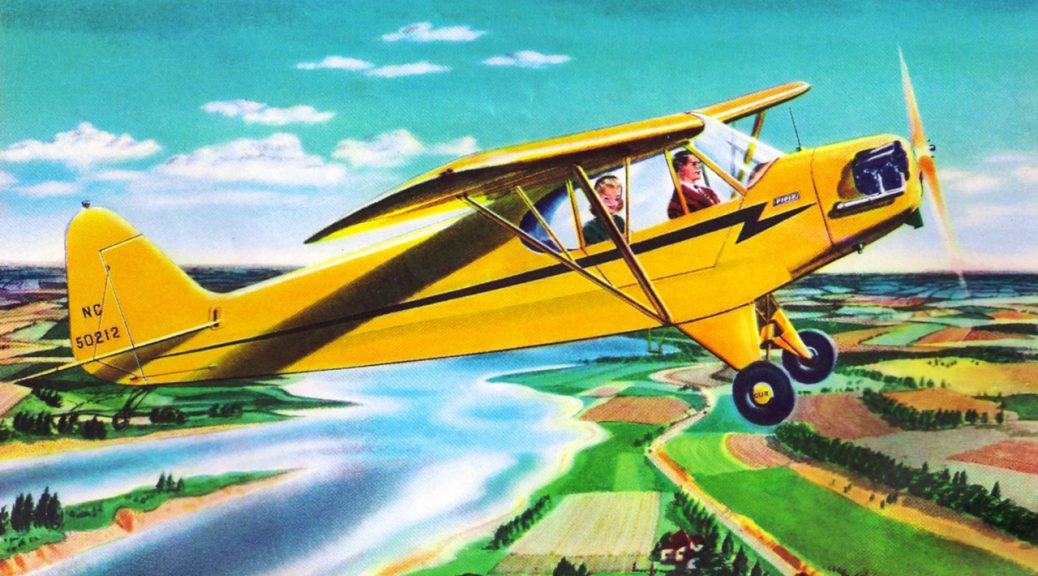 """1946 advertisement of the Piper Cub. Image courtesy of David at """"Remarkably Retro,"""" http://dtxmcclain.tumblr.com/post/4770323285/piper-cub-special-1946-the-worlds-most-popular"""