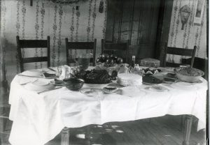"""Thanksgiving Table, 1895,"" from the Bensley Collection, Traverse Area District Library, Local History Collection."