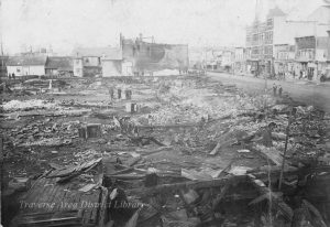 After the fire. Can you spot the fire-proof safes in the rubble? Their owners must have been pleased by their foresight. Images from the S.E. Wait Glass Plate Negative Collection, Traverse Area District Library.