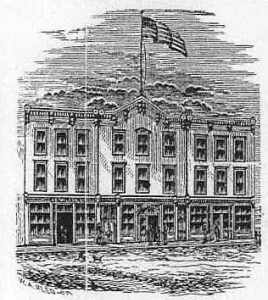 "Front Street Hotel, from the ""F.E. Walker Business Directory, 1894."" This is the only know image of the Hotel."