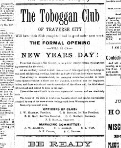 "Article on the Toboggan Club of Traverse City, from the ""Grand Traverse Herald,"" December 23, 1886."
