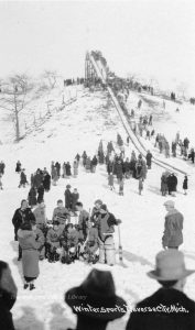 Picture of the toboggan run at the Traverse City Golf and Country Club was taken in the 1920s near the 16th green of the golf course. From the Bensley Collection, Traverse Area District Library.