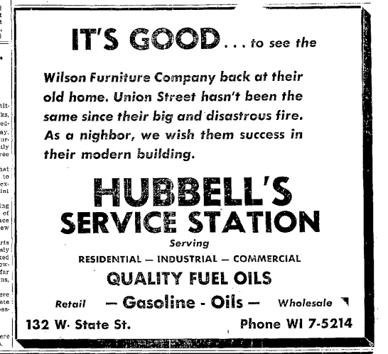 Advertisement From Hubbellu0027s Service Station On The Reopening Of Wilson  Furniture Company On Union Street, Traverse City U201cRecord Eagle,u201d 15 July  1957.