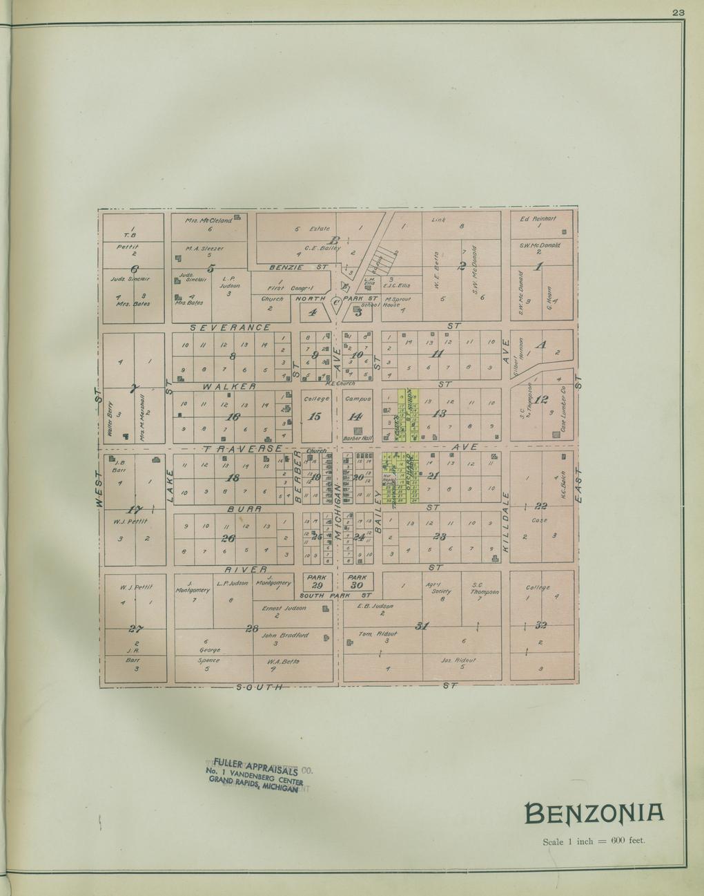 Michigan benzie county benzonia - Plat Of The Village Of Benzonia In 1901 Atlas Of Benzie County Michigan Knoxville Tenn C E Ferris 1901